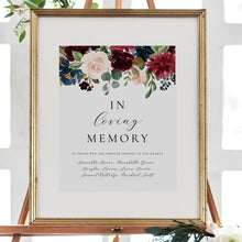 Load image into Gallery viewer, In loving memory sign Burgundy - Pearly Paper