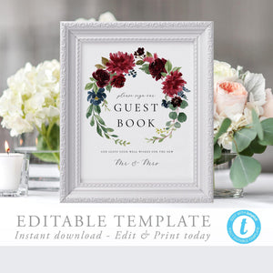 Marsala Guest Book Sign Template - Pearly Paper