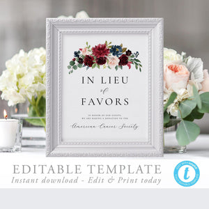 Editable In Lieu of Favors - Pearly Paper