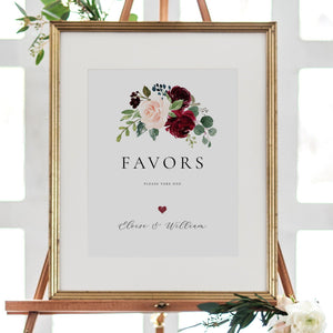Burgundy Favors Sign Wedding guests - Pearly Paper