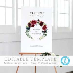 Printable Welcome Sign Editable Template - Pearly Paper