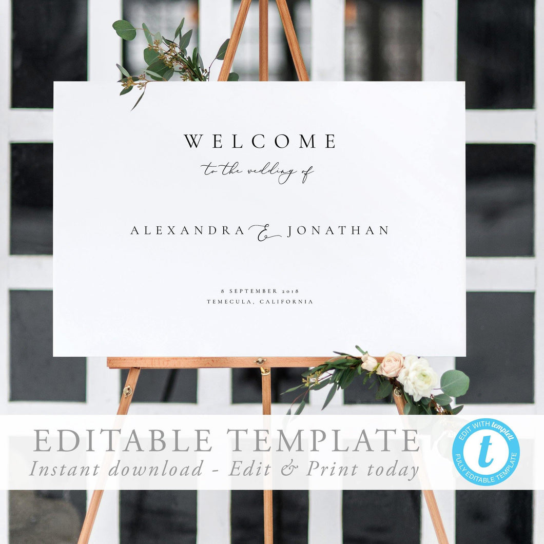 Modern wedding welcome sign Template - Pearly Paper
