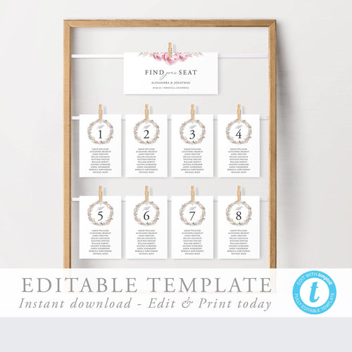 Seating Chart cards Floral - Pearly Paper