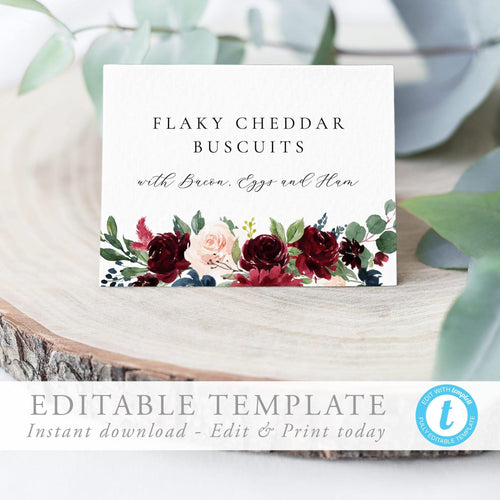 Buffet card editable template Wedding - Pearly Paper