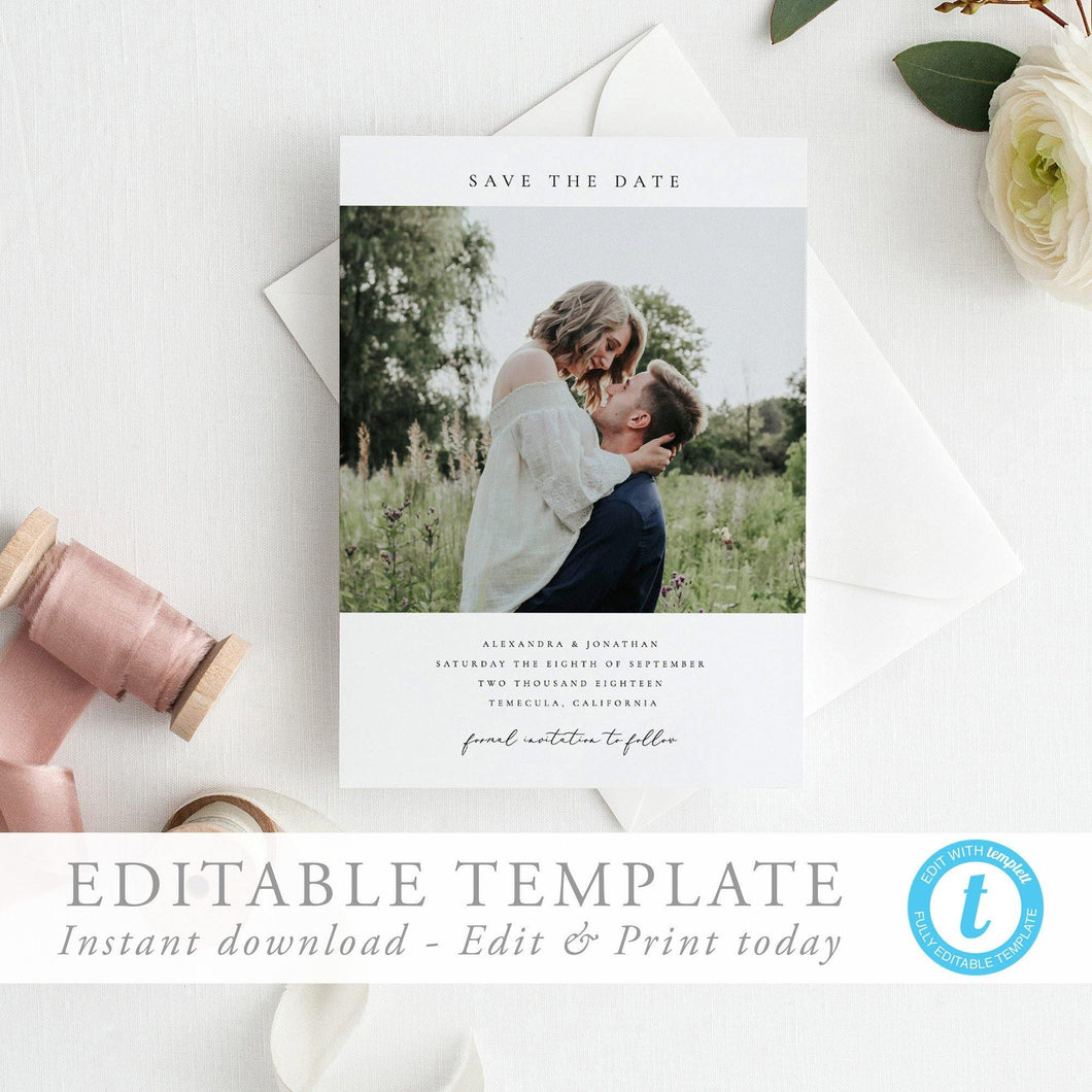 Simple Photo Save the Date Invite - Pearly Paper