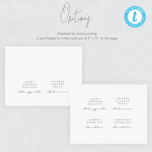 Editable Buffet card template Wedding - Pearly Paper