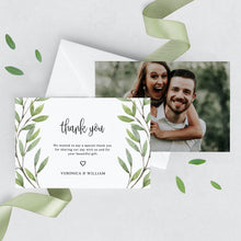 Load image into Gallery viewer, Greenery Wedding Thank You Photo Card - Pearly Paper