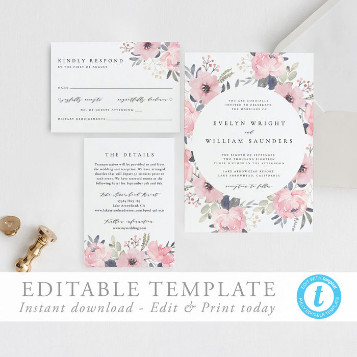 Floral Wedding Invitation Set Blush - Pearly Paper