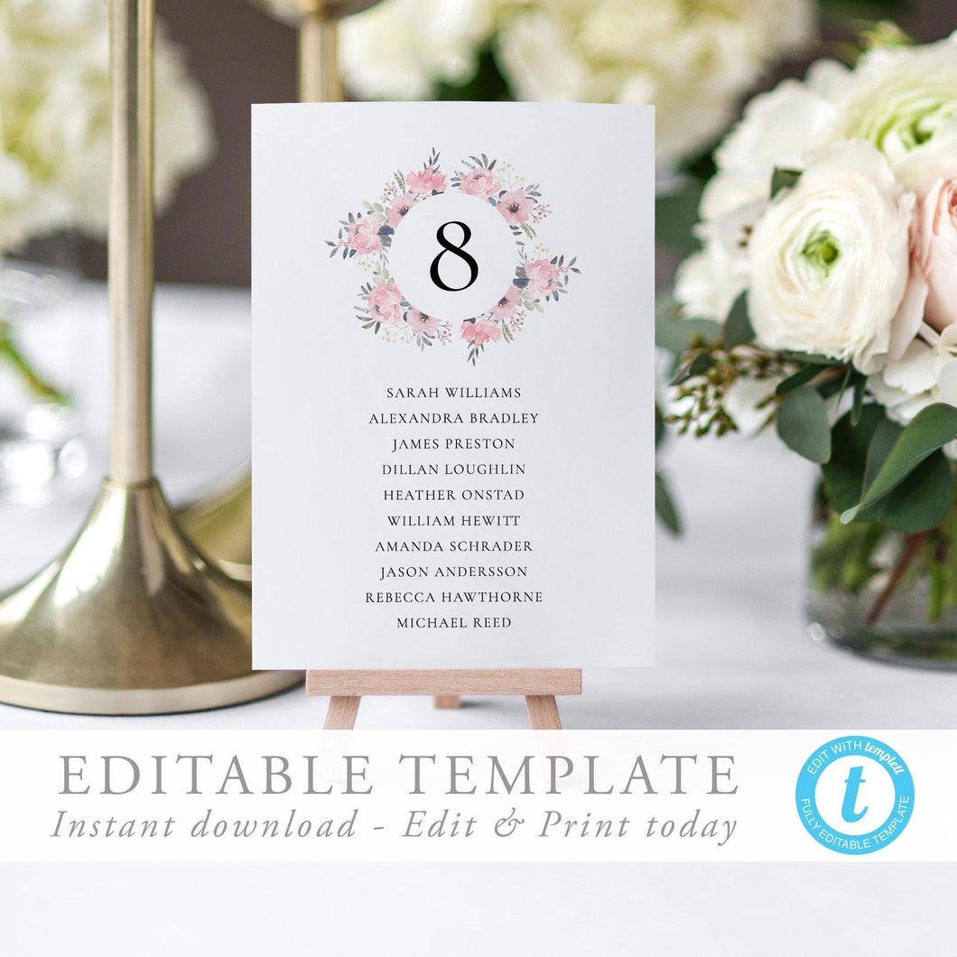 Blush Wedding Table Number Seating Card - Pearly Paper