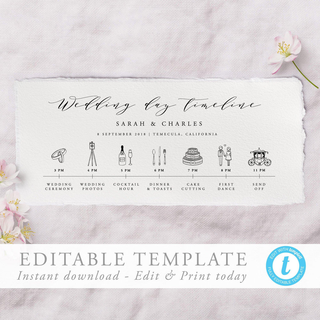 Wedding Day Timeline Calligraphy - Pearly Paper