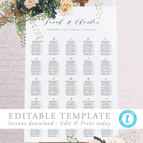 Alphabetical seating chart Sign Modern - Pearly Paper