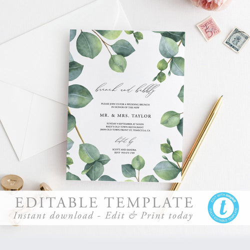 Eucalyptus Wedding Brunch Invite - Pearly Paper
