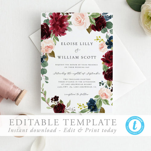 Wedding Invitation editable template, Burgundy - Pearly Paper