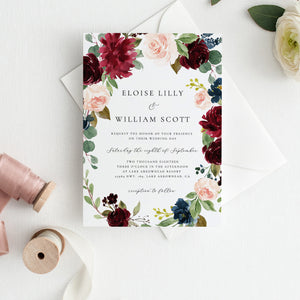 Wedding Invitation Template Merlot and - Pearly Paper