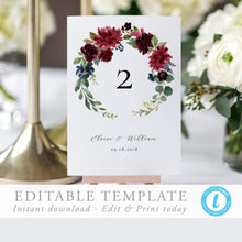 Load image into Gallery viewer, Floral Table Numbers - Pearly Paper