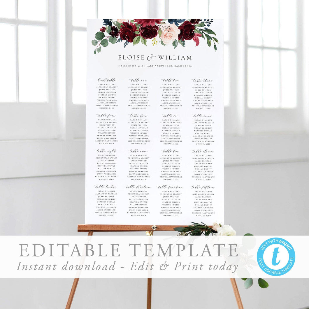 Floral Seating Chart Sign - Pearly Paper