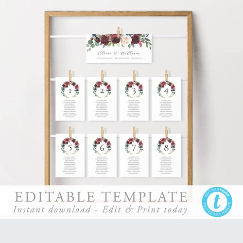 Marsala Seating Chart Cards - Pearly Paper