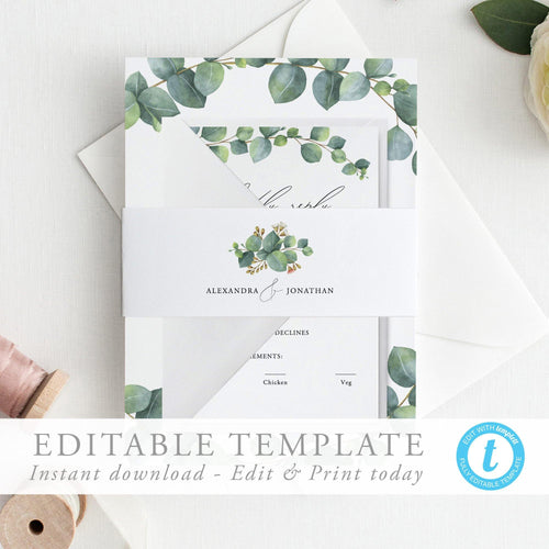 Eucalyptus Belly Band Calligraphy Belly - Pearly Paper