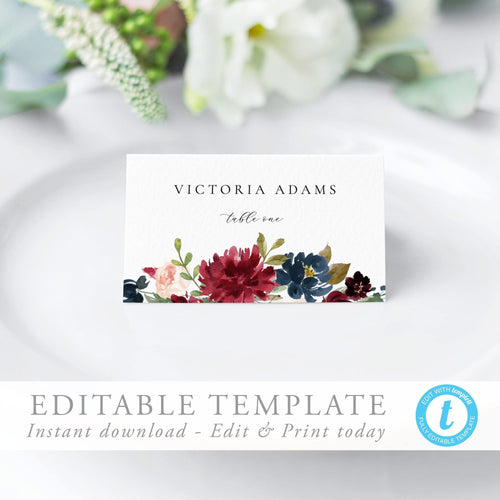 Marsala Place Cards Floral - Pearly Paper
