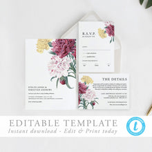 Load image into Gallery viewer, Printable Wedding invitation set floral - Pearly Paper