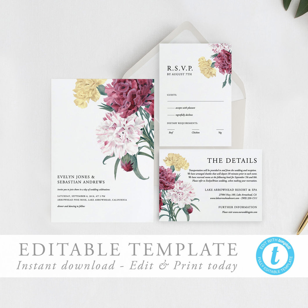 Printable Wedding invitation set floral - Pearly Paper