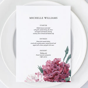 Floral Menu Place Cards - Pearly Paper