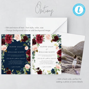 Floral Wedding Menu - Pearly Paper