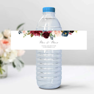 Wedding Water Bottle Labels Floral - Pearly Paper