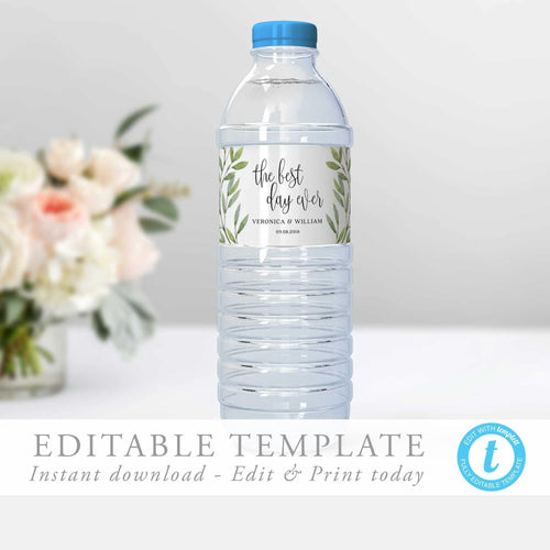 Greenery Water Bottle Label Template - Pearly Paper