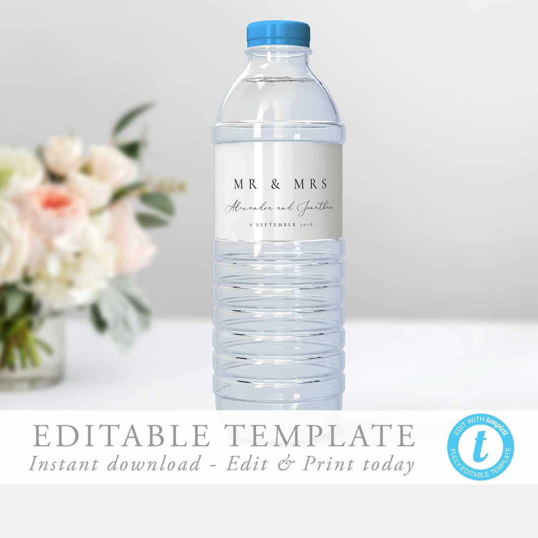 Modern water bottle label Simple - Pearly Paper