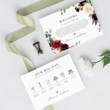 Load image into Gallery viewer, Wedding Timeline Marsala Wedding - Pearly Paper
