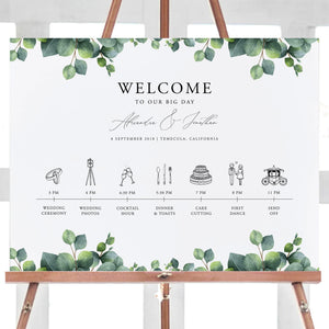 Greenery Wedding timeline poster Order - Pearly Paper