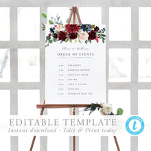 Load image into Gallery viewer, Order of Events Sign Template - Pearly Paper