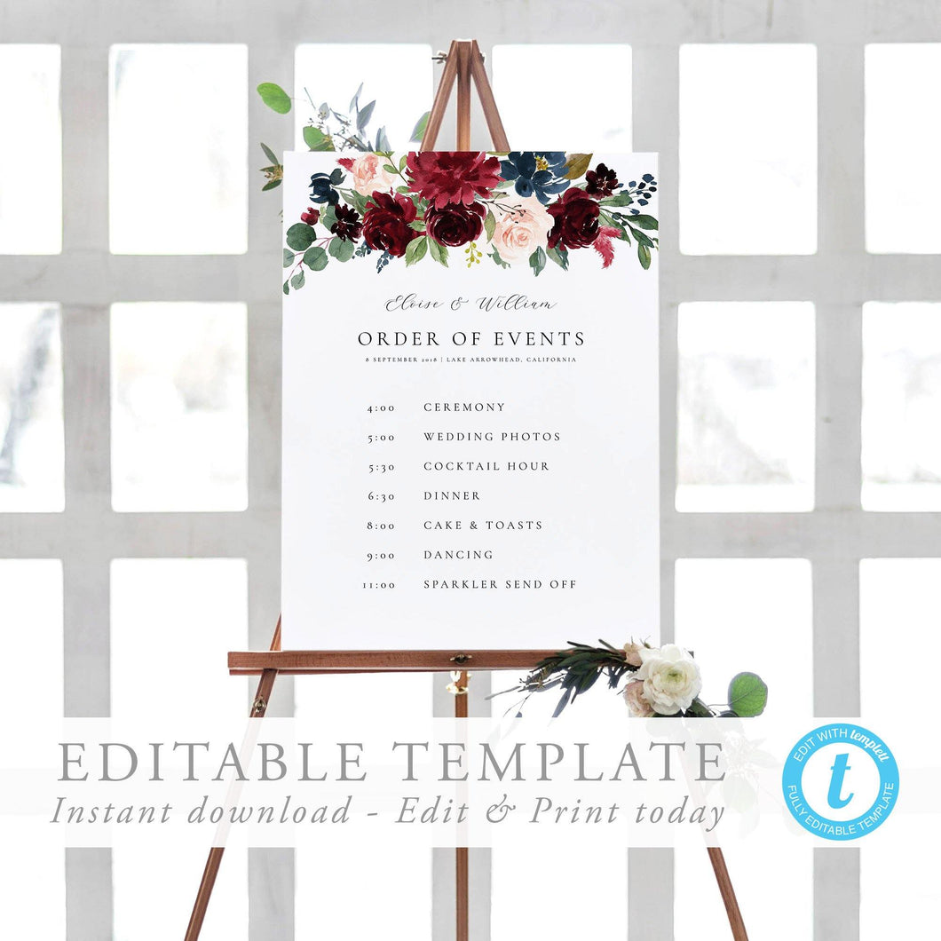 Order of Events Sign Template - Pearly Paper