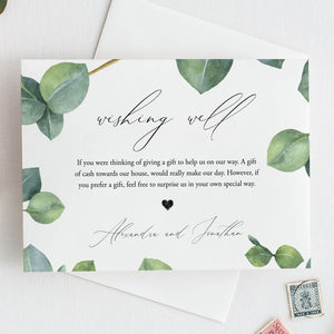 Greenery Wishing Well Card Wedding - Pearly Paper