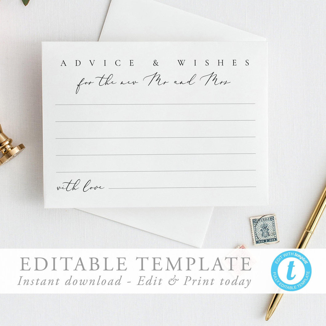 Modern Wedding Advice card Advice - Pearly Paper