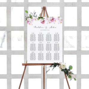 Floral Seating chart Alphabetical - Pearly Paper