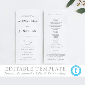 Modern Wedding Ceremony Program - Pearly Paper
