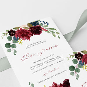 Burgundy Bridal Shower Invitation - Pearly Paper