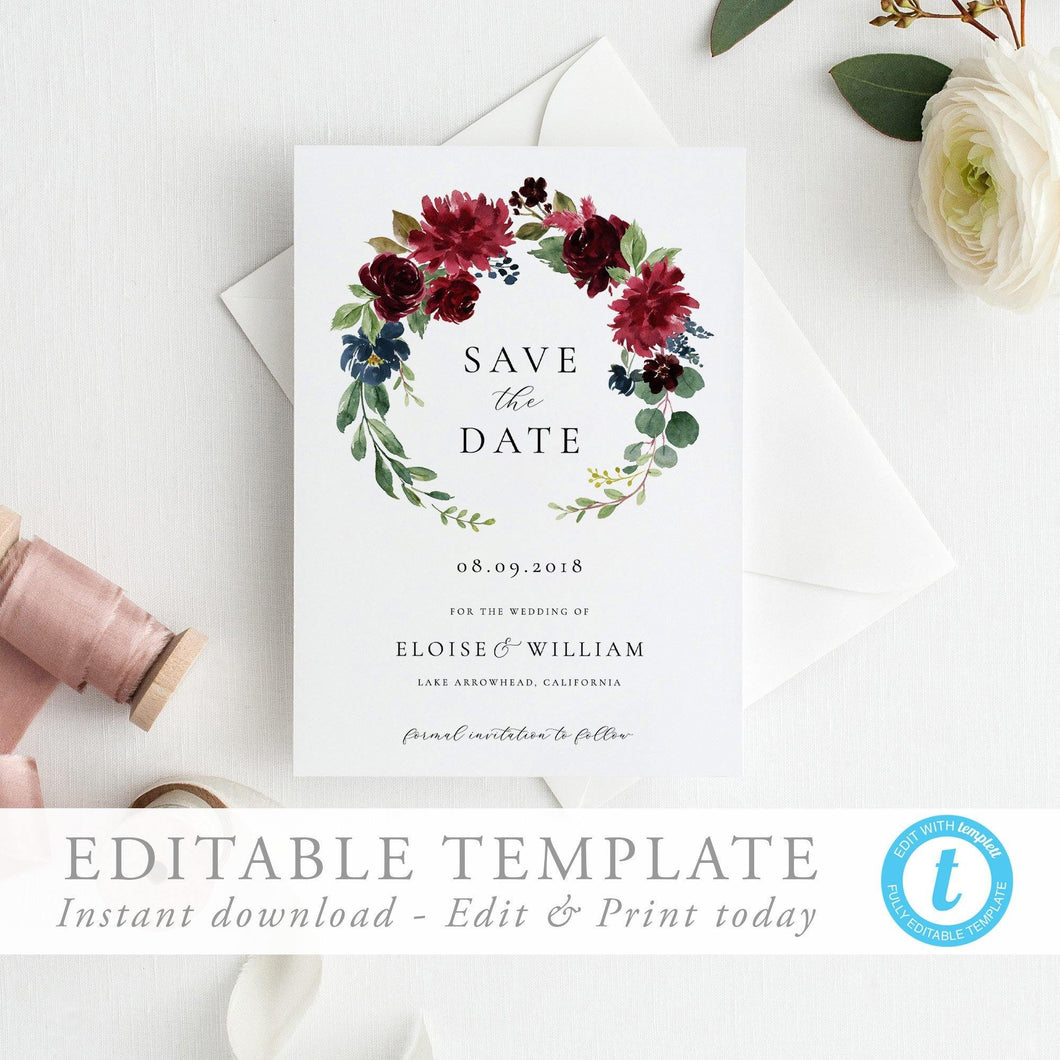 Floral Save the Date Invite - Pearly Paper