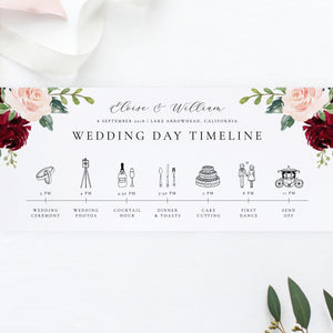 Wedding Day Timeline Card Floral - Pearly Paper
