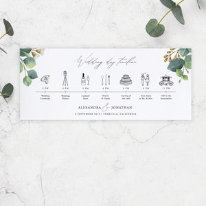 Eucalyptus Wedding Day Itinerary Card - Pearly Paper