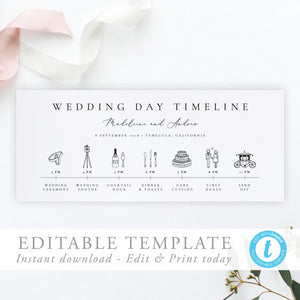 Modern Wedding Day Timeline Card - Pearly Paper