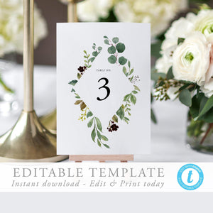 Greenery Table Numbers - Pearly Paper