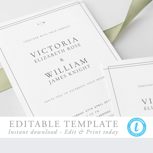 Classic Wedding Invitation Template Simple - Pearly Paper