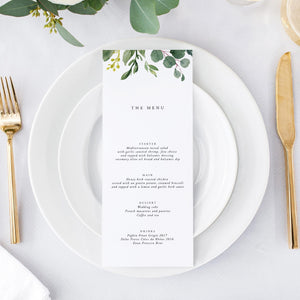 Greenery Wedding Menu - Pearly Paper