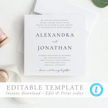 Load image into Gallery viewer, Square Wedding Invitation Template - Pearly Paper