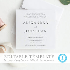 Square Wedding Invitation Template - Pearly Paper