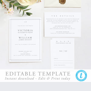 Elegant Wedding Invitation Template Classic - Pearly Paper