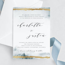 Load image into Gallery viewer, Winter wedding invitation template gold - Pearly Paper